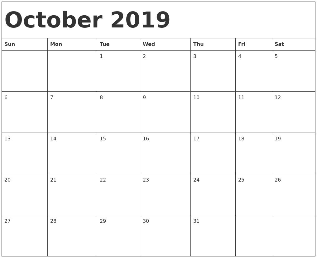 2019 Calendar October PDF