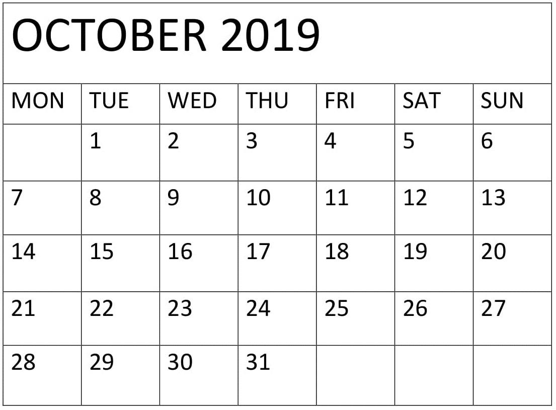 Blank Calendar For October 2019 Editable