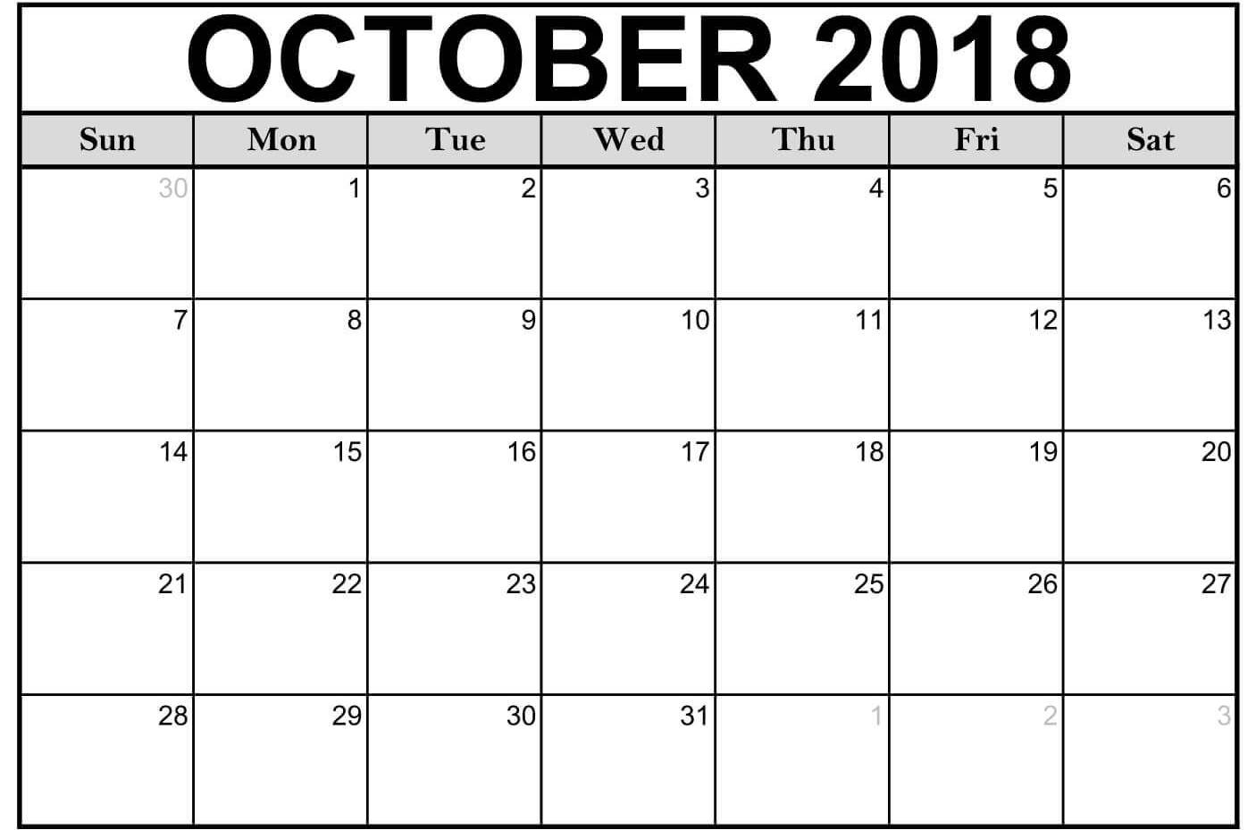 Blank October 2018 Printable Calendar