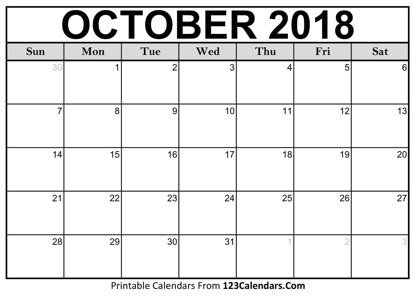 Calendar For October 2018 Sheet