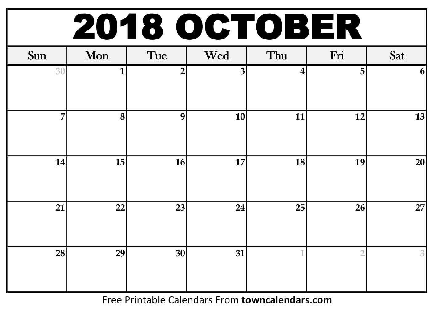 Calendar For October 2018