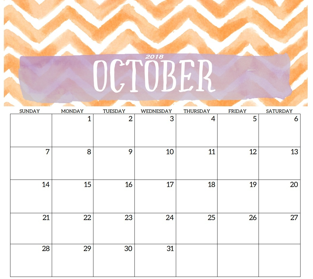 Calendar For October 2018 Cute
