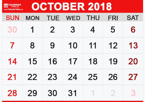 Calendar For October 2018 PDF
