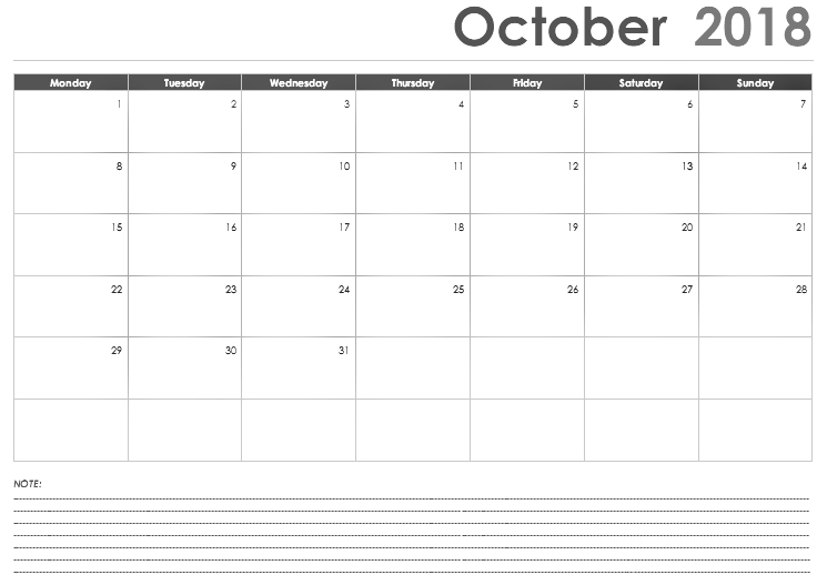 Calendar For October 2018 Notes