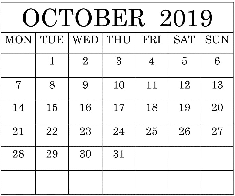 Calendar For October 2019 Template