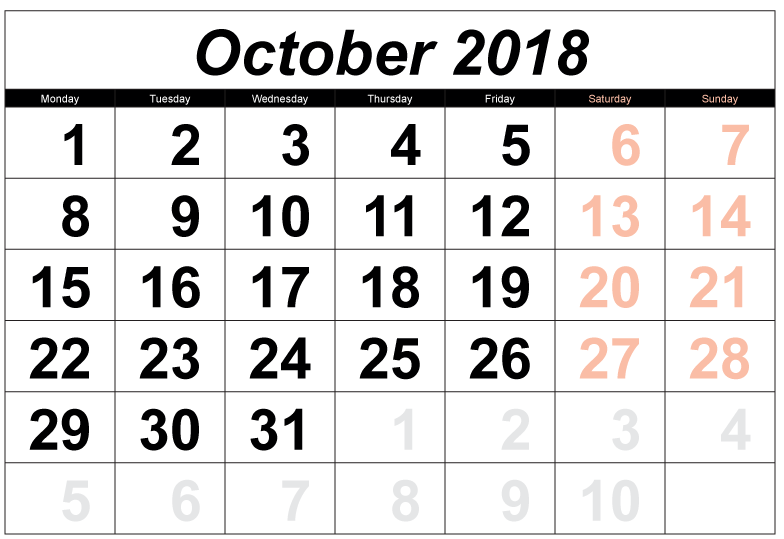 Calendar October 2018 Printable With Holidays