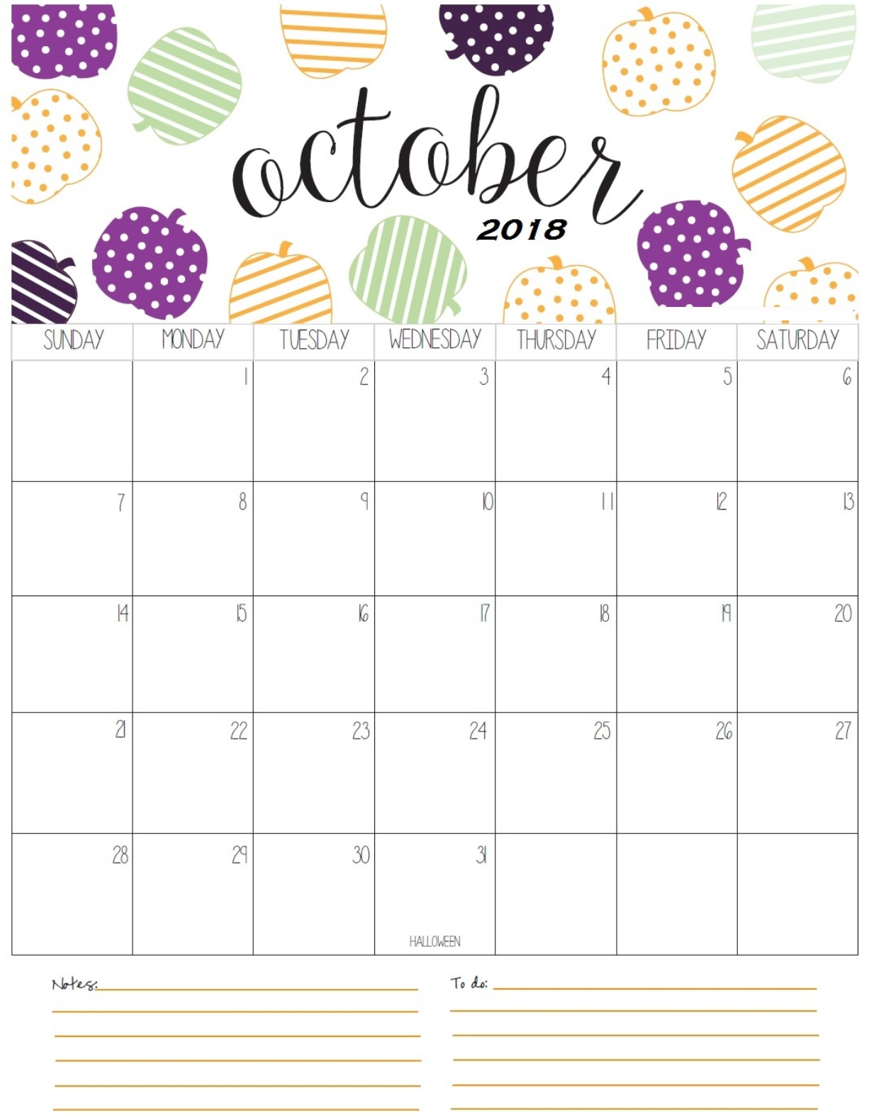 Calendar October 2018 Time Table