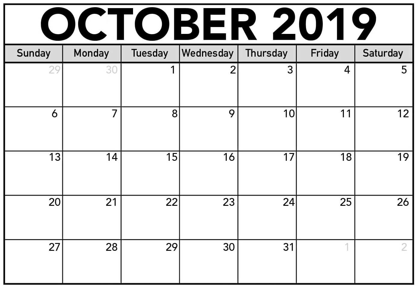 Calendar Of October 2019