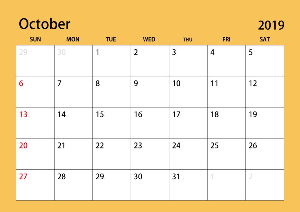 Cute October 2019 Calendar Free