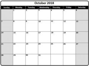 Fillable October 2018 Printable Calendar