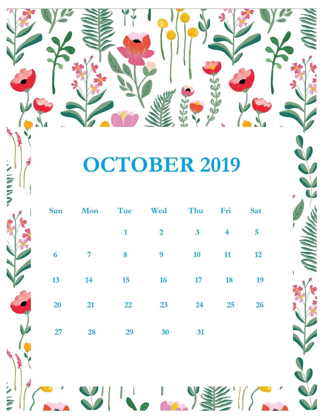 Floral Calendar October 2019 to Print