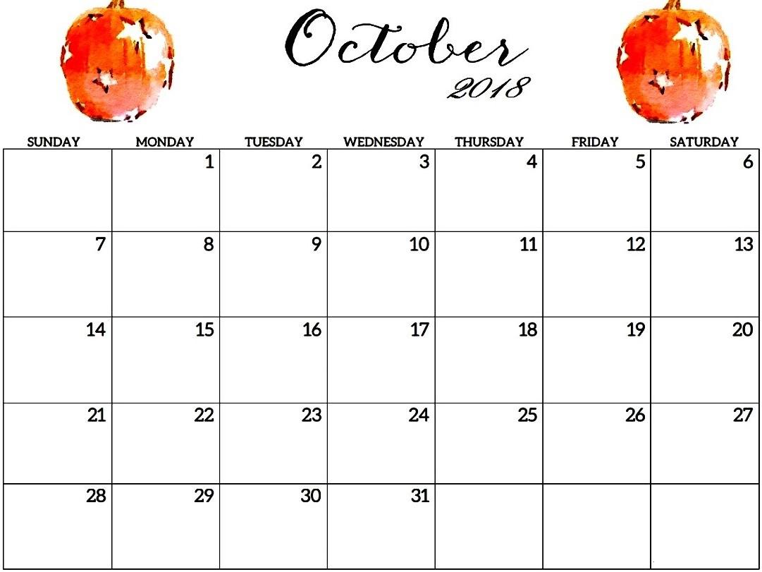 Free Calendar For October 2018
