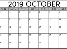 Free Calendar For October 2019 Template