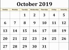 Free Printable Calendar Of October 2019