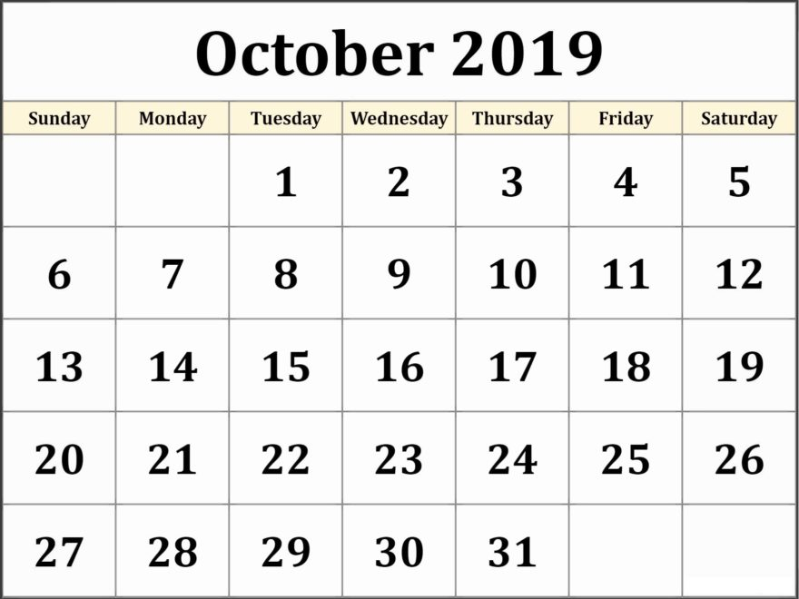 Free Printable Calendar Of October 2019
