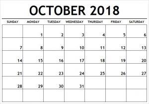 Print Blank Calendar October 2018 Tumblr