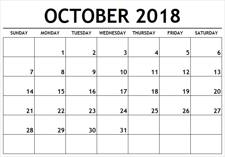 picture regarding Printable Calendar for October identify Print Blank Calendar Oct 2018 Tumblr - Free of charge Printable