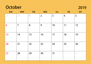Monthly Calendar For October 2019
