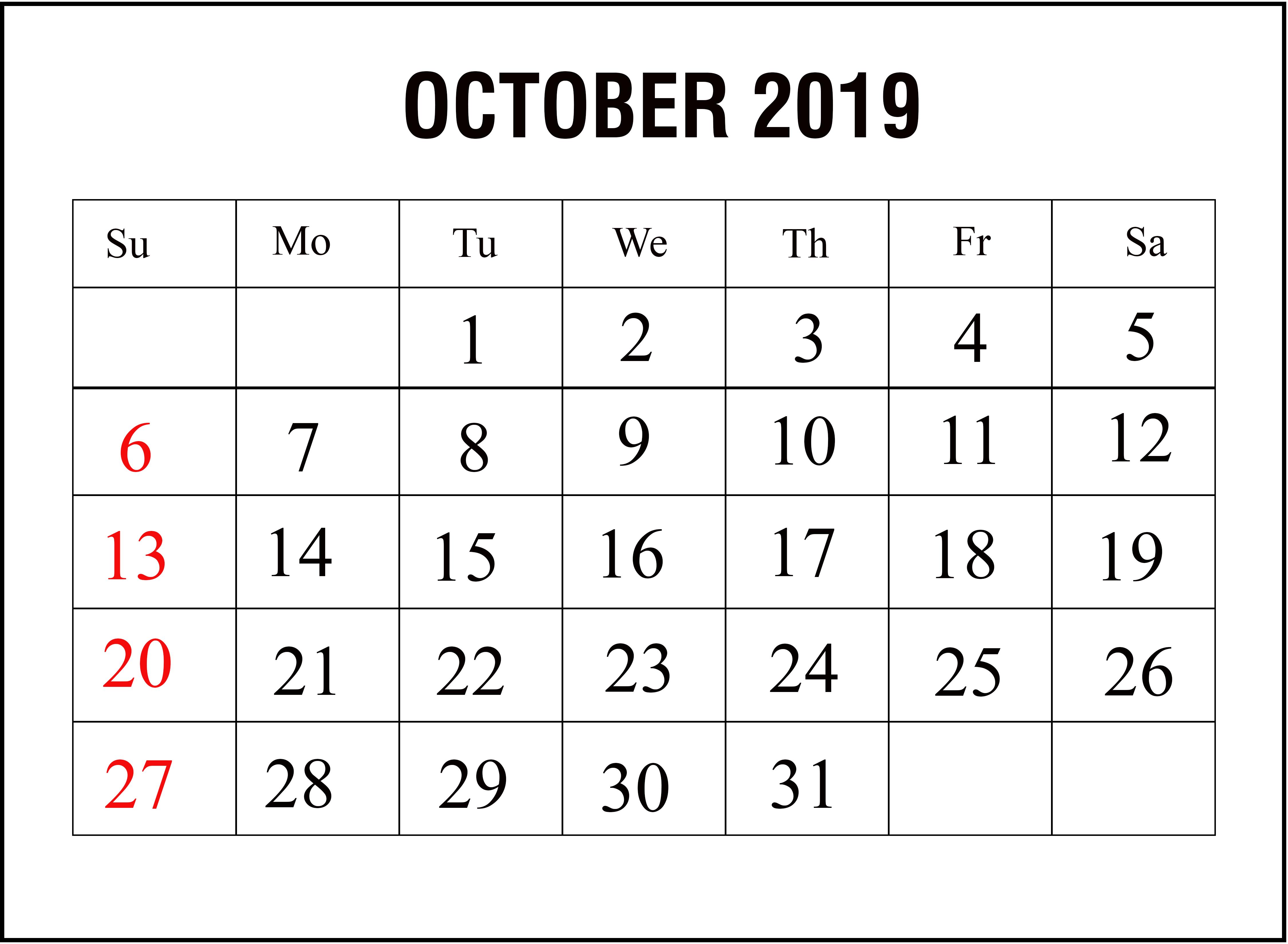 Monthly October 2019 Calendar Template
