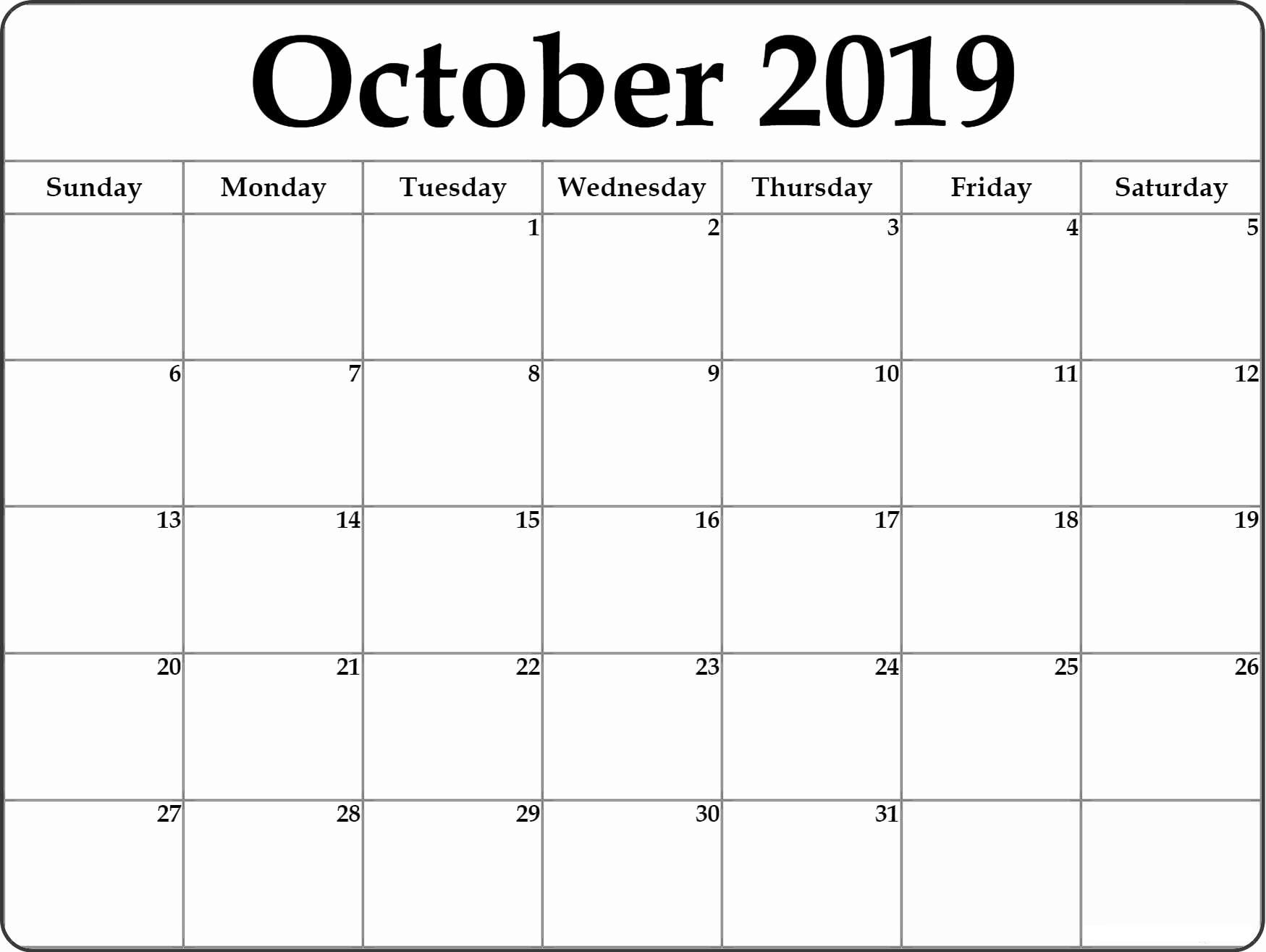Monthly October 2019 Calendar
