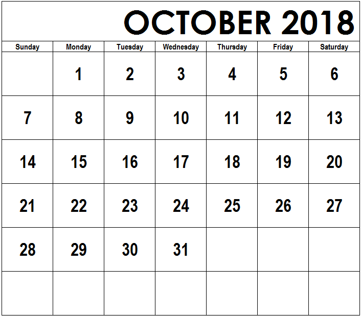 October 2018 Calendar Printable Template
