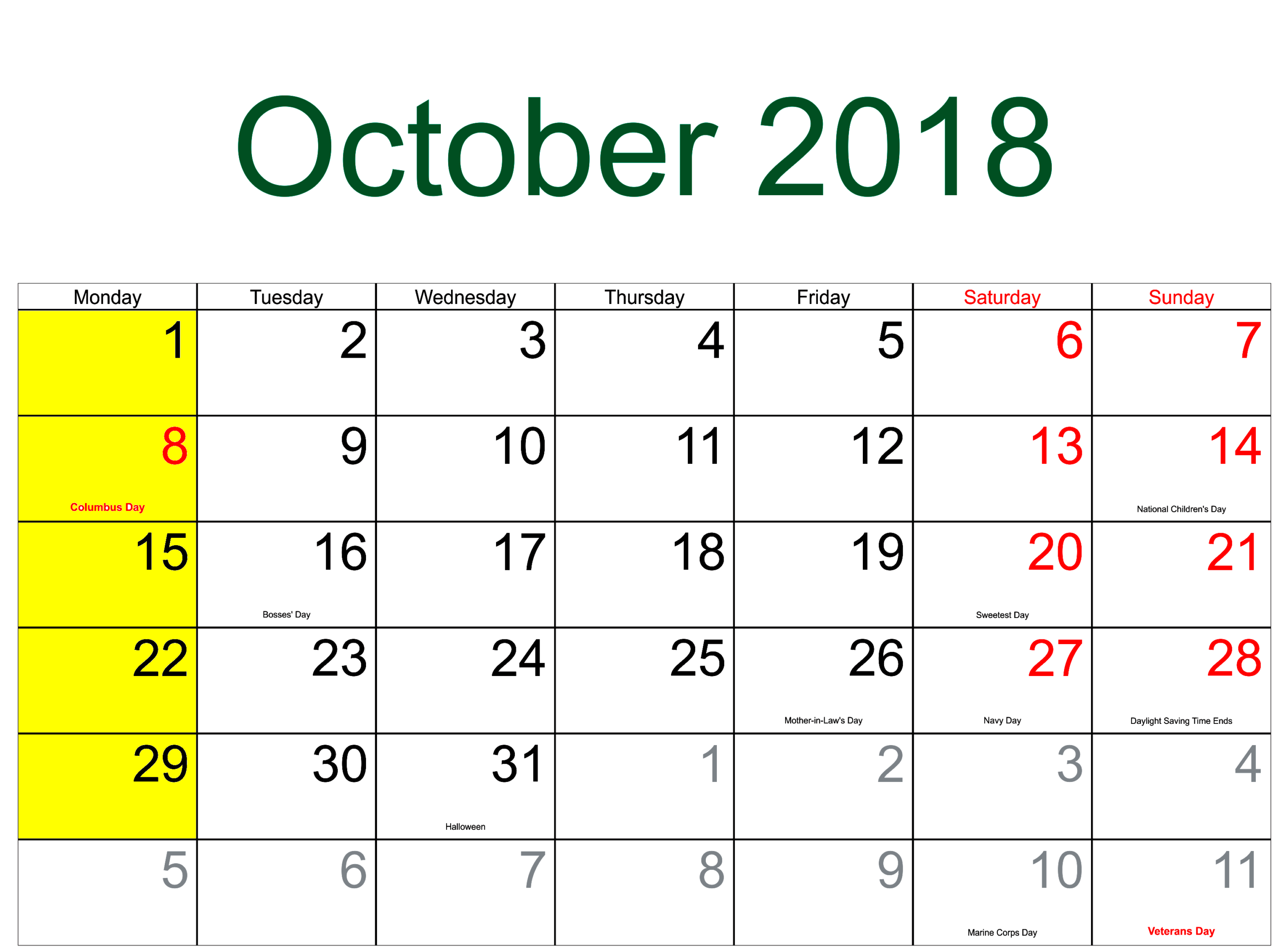 October 2018 Calendar US With Holidays