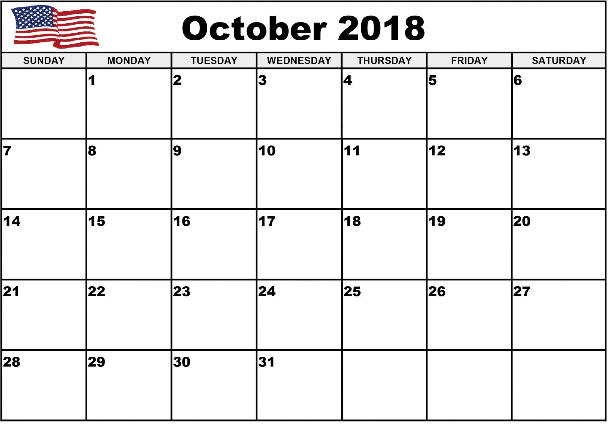 October 2018 Calendar USA