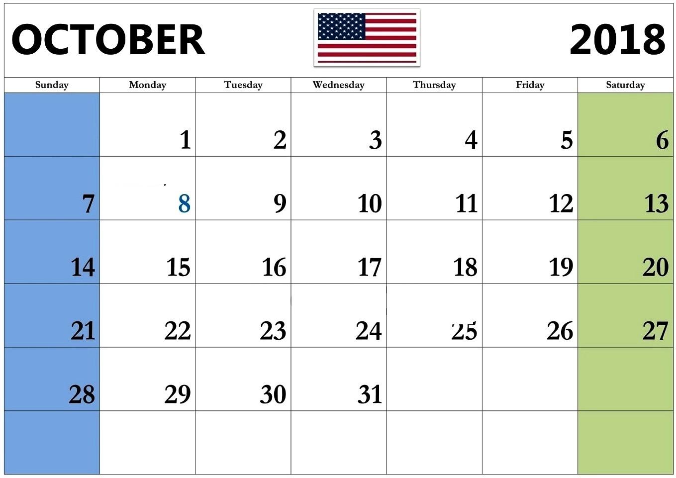 October 2018 Calendar United States