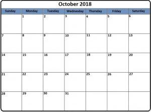 October 2018 Printable Calendar Word