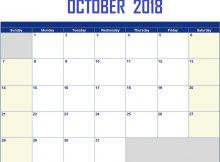 October 2018 Printable Calendar Amazon