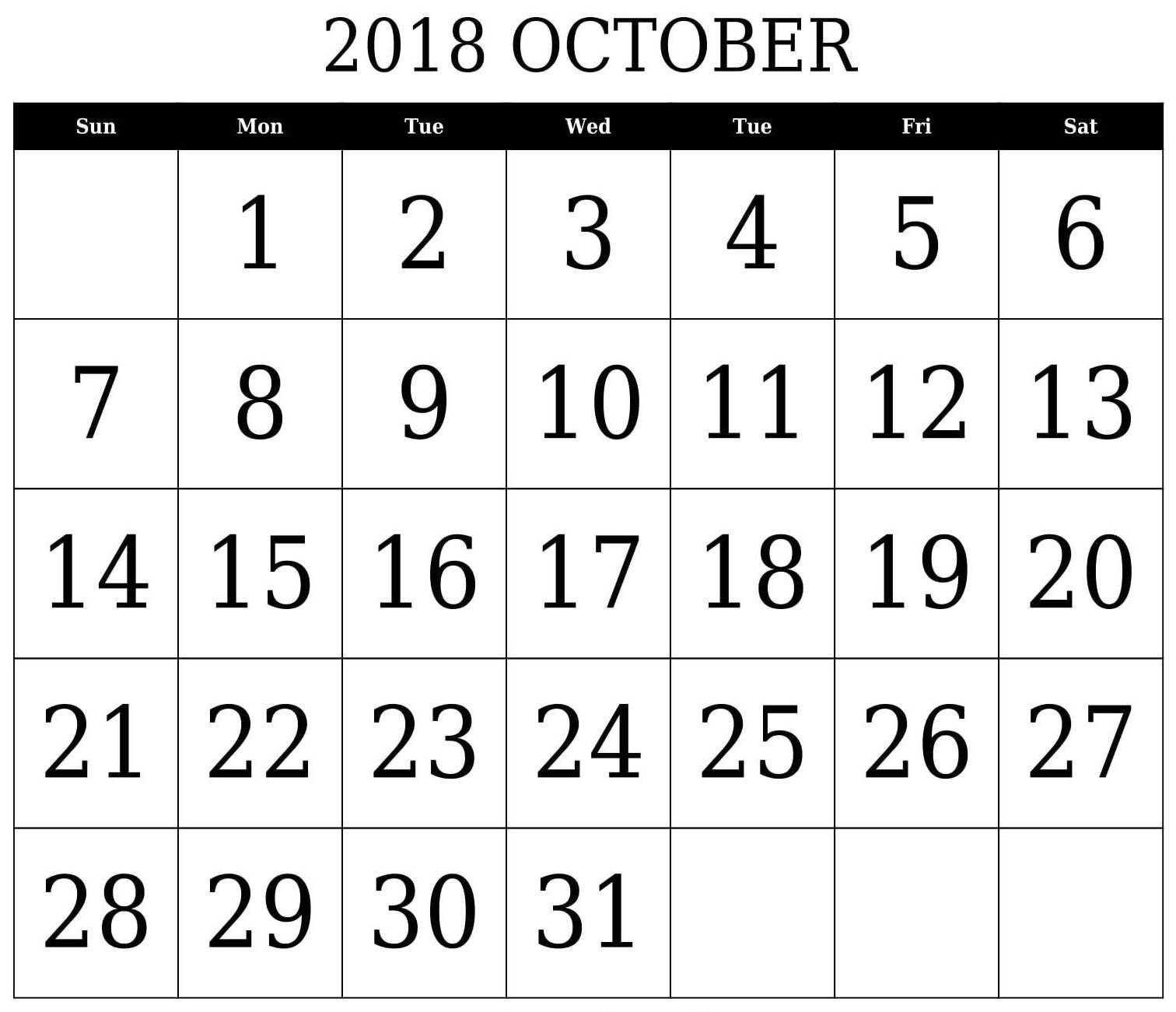 October 2018 Printable Calendar PDF
