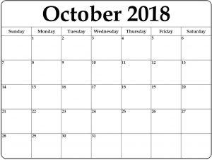 October 2018 Printable Calendar Template