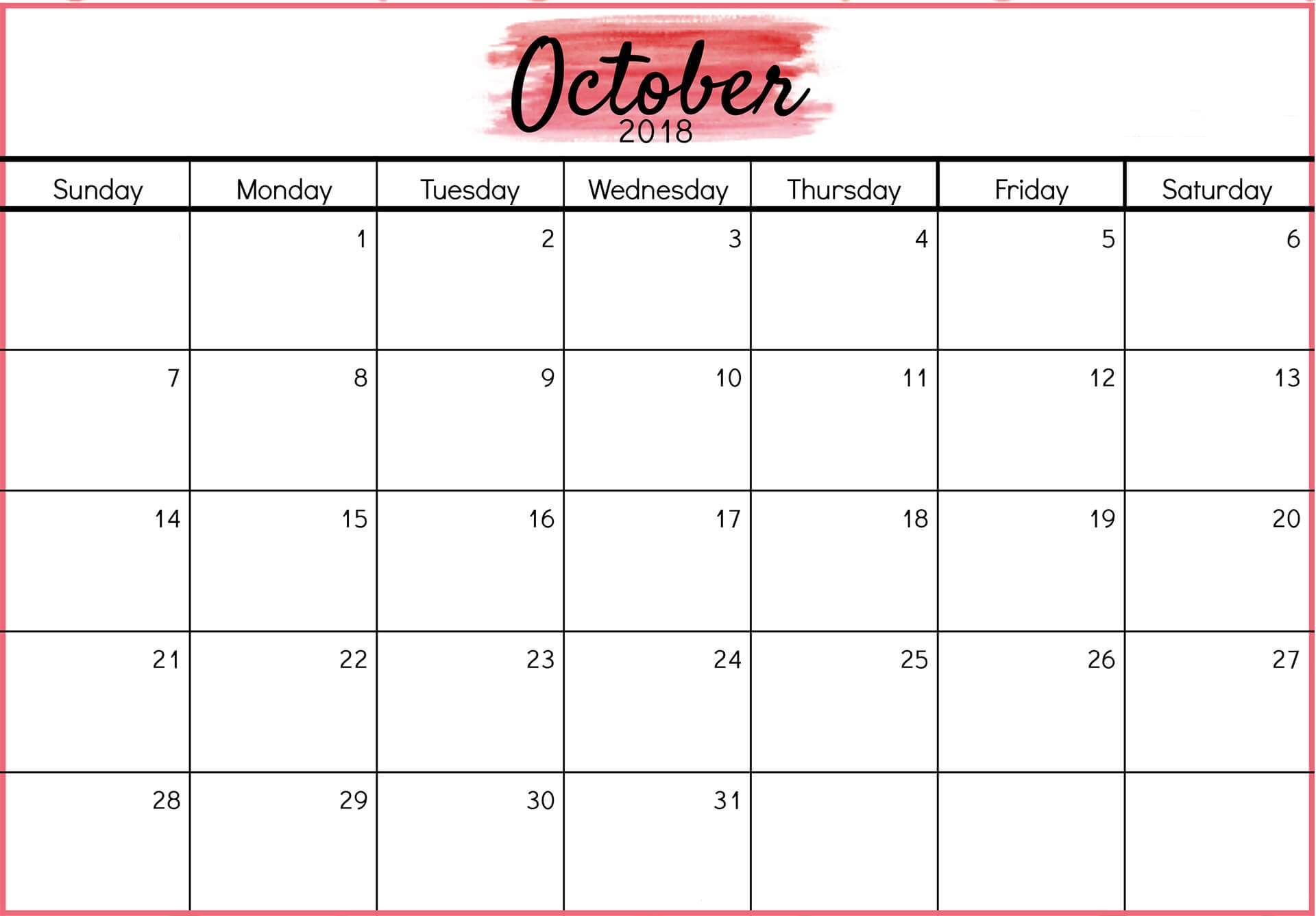 Free Printable October 2018 Calendar Template Blank Notes