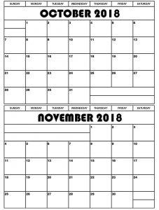 Online October November 2018 Printable Calendar