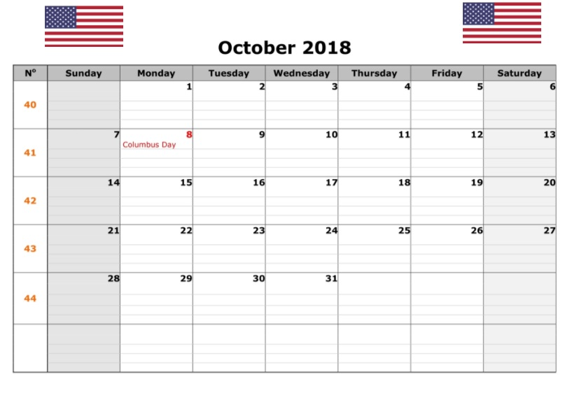 October 2018 USA Calendar With Holidays