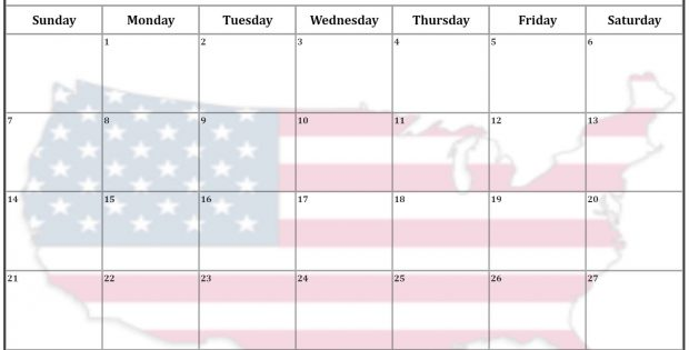 October 2018 USA flag Calendar