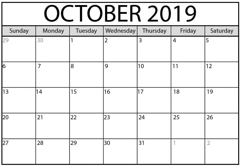 October 2019 Calendar Google Sheet