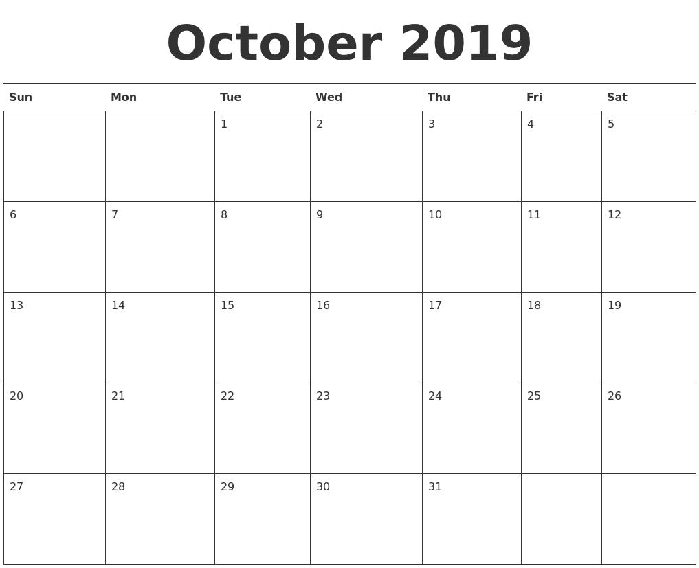 October 2019 Calendar Printable Images