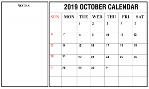 October 2019 Calendar With Notes