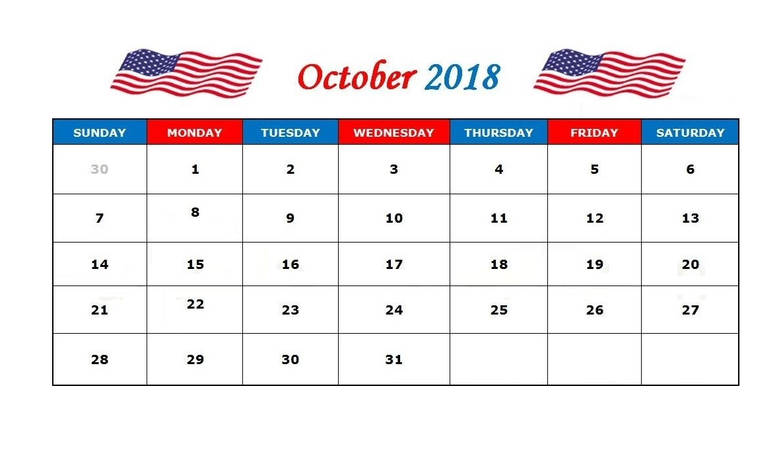 Print October 2018 Calendar USA