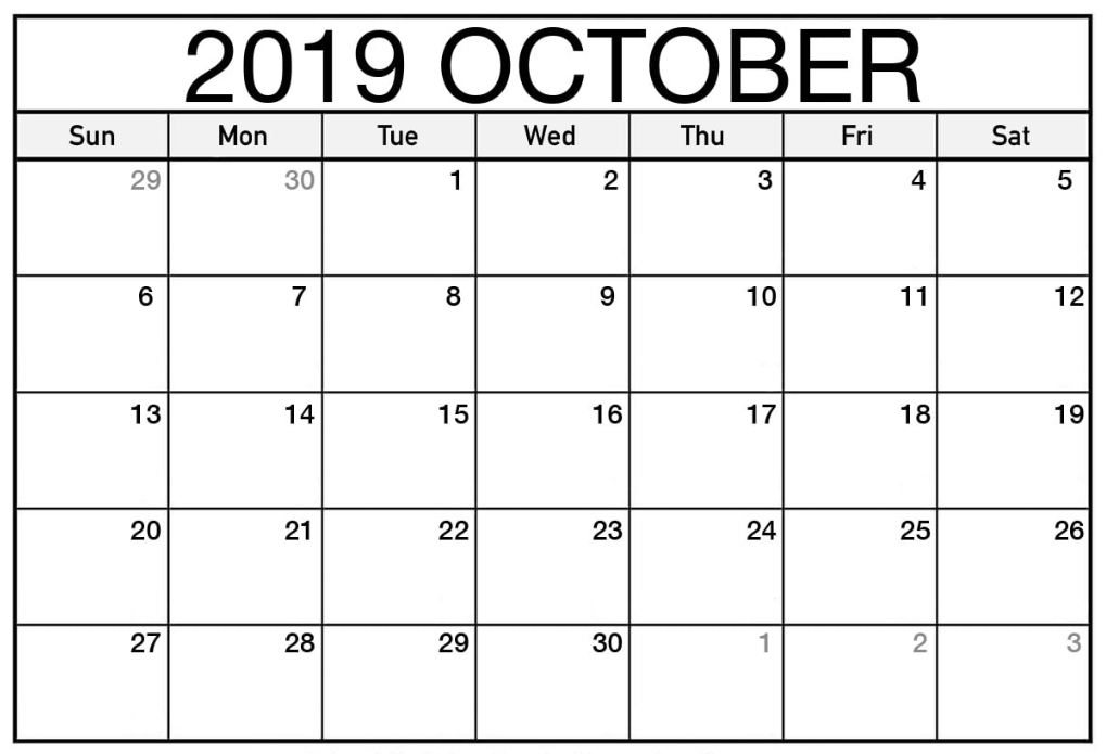 Printable Calendar For October 2019