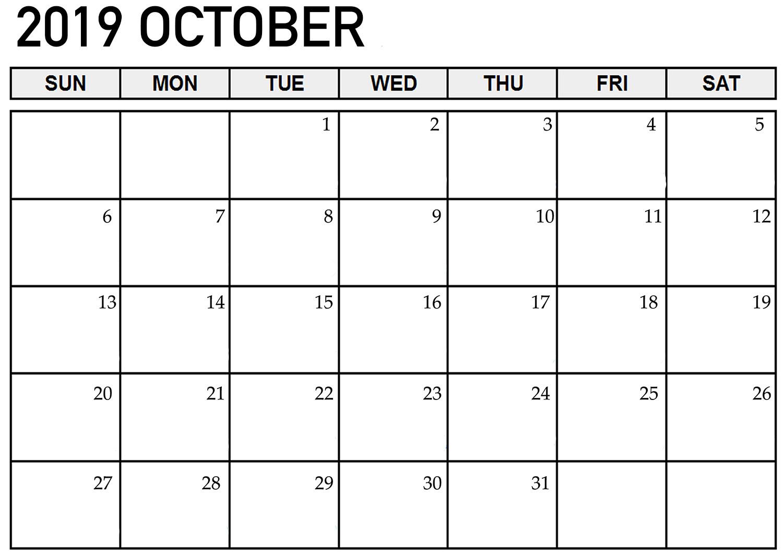 Printable Calendar October 2019