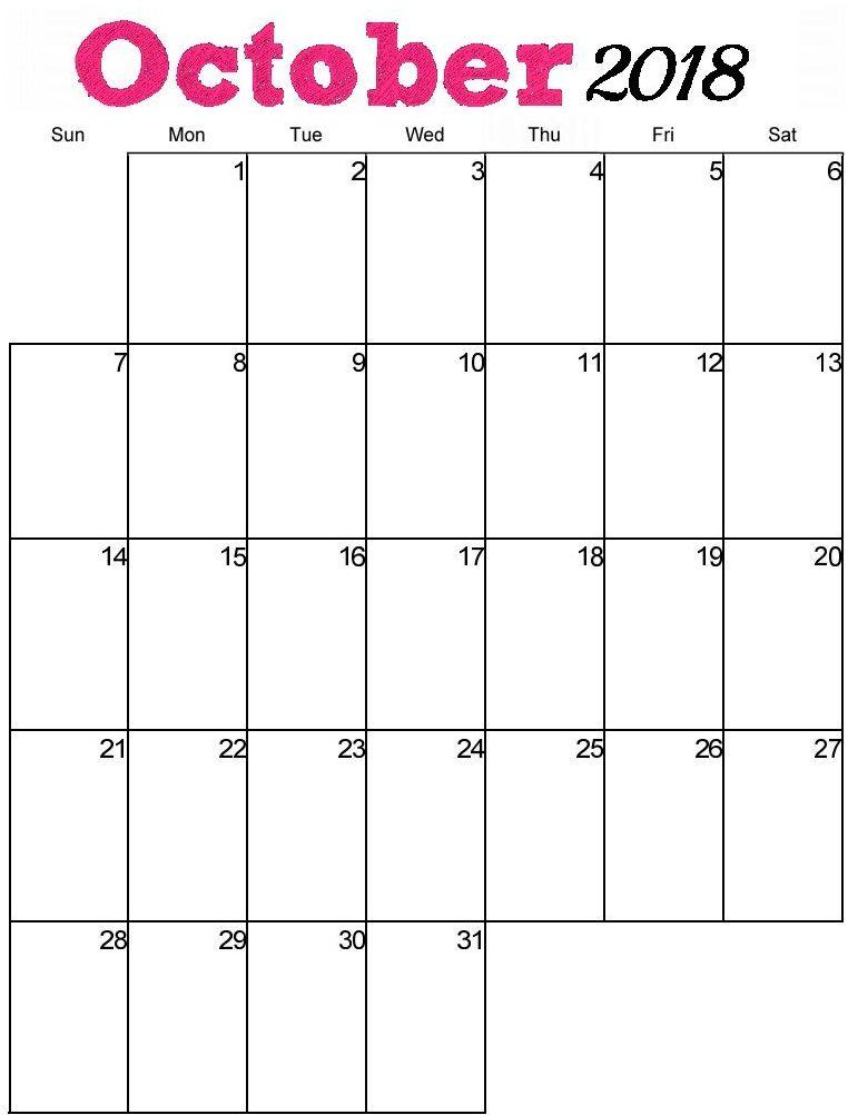 Printable October 2018 Calendar Template