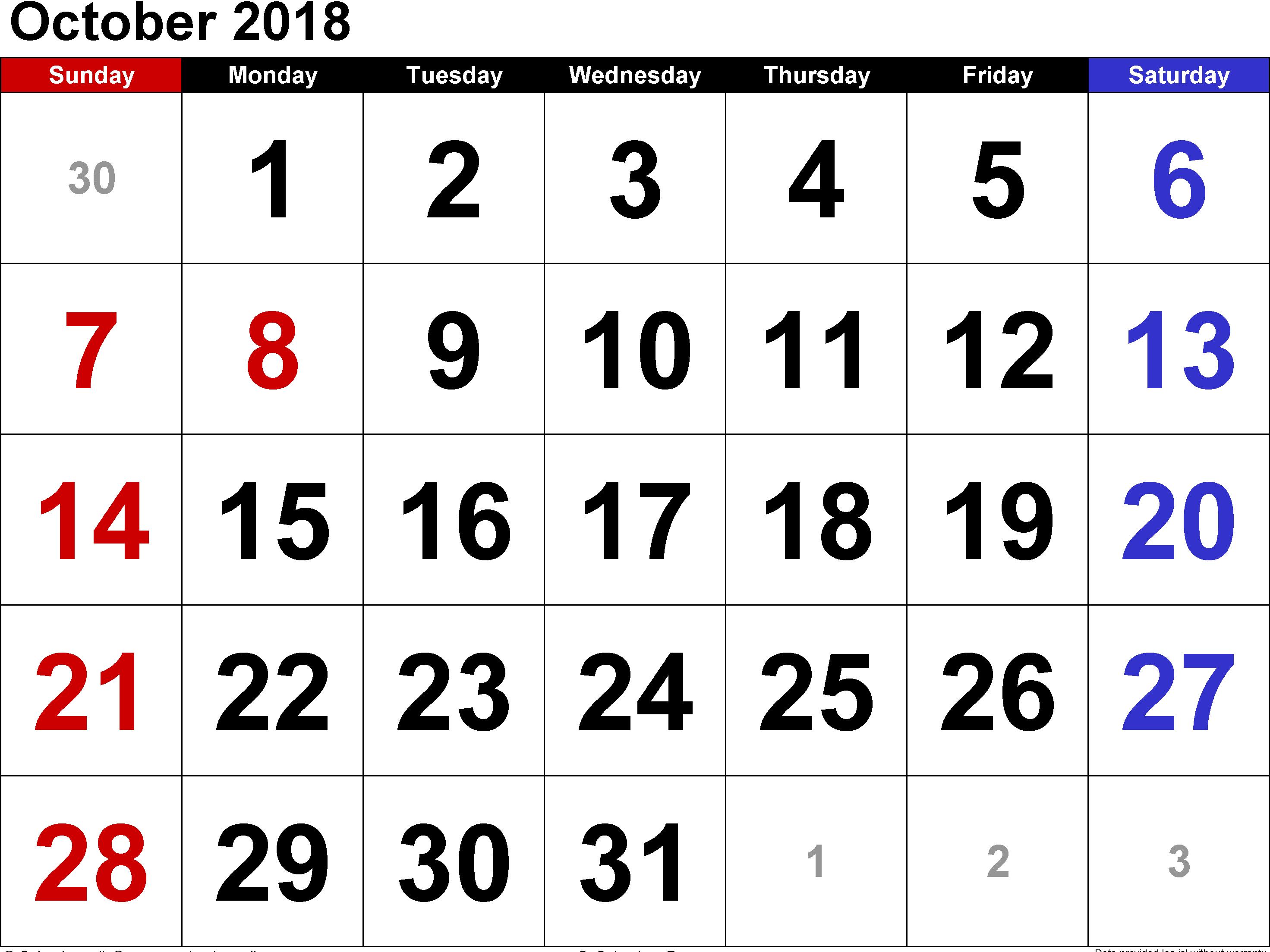 Printable October 2018 Calendar Templates