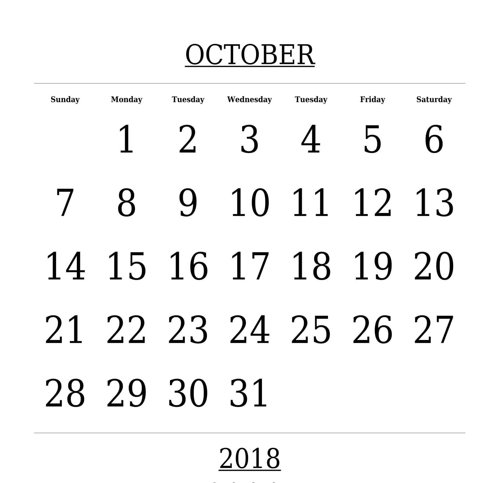 Printable October 2018 Calendar
