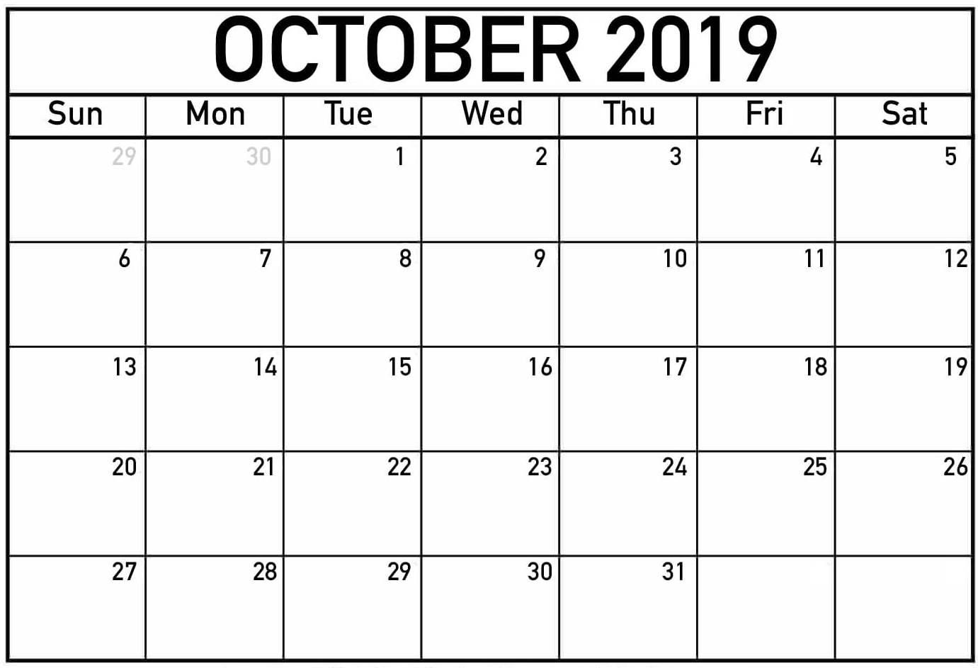 Printable October 2019 Calendar PDF