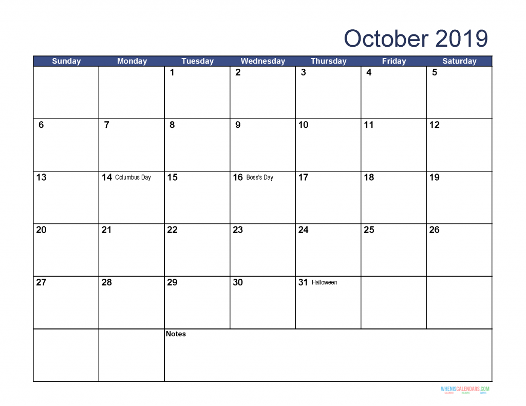 Printable October 2019 Holidays Calendar