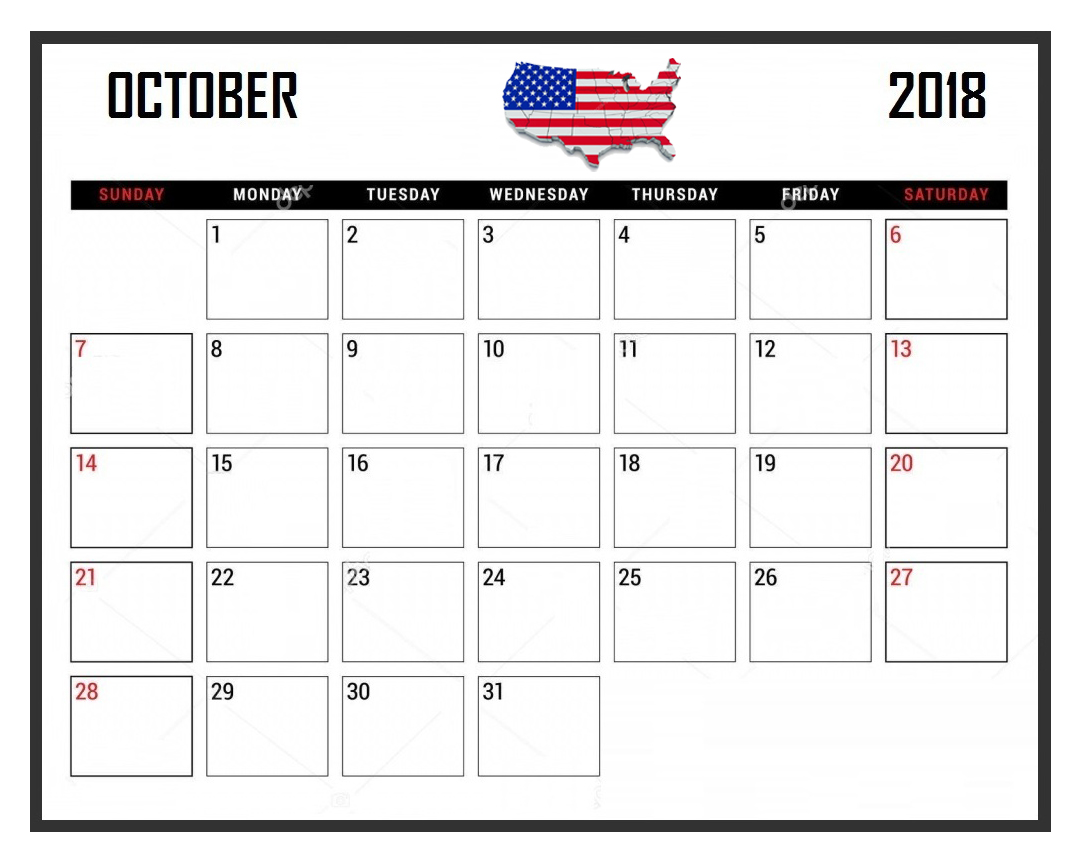 USA Calendar October 2018