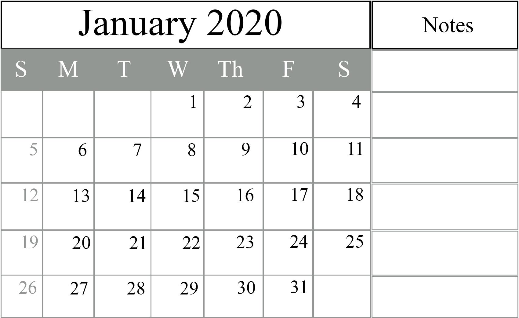 2020 January Calendar Printable Template