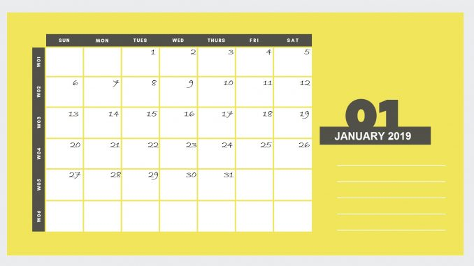 Beautiful January 2019 Printable Calendar Design